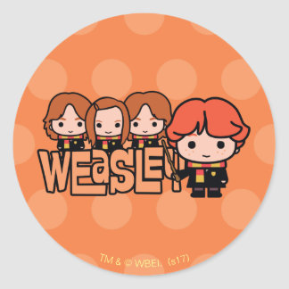 Cartoon Weasley Siblilings Graphic Classic Round Sticker