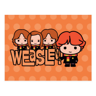 Cartoon Weasley Siblilings Graphic Postcard