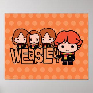 Cartoon Weasley Siblilings Graphic Poster
