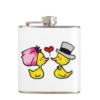 cartoon wedding ducks couple hip flask