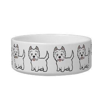 Cartoon West Highland White Terrier Pet Water Bowls