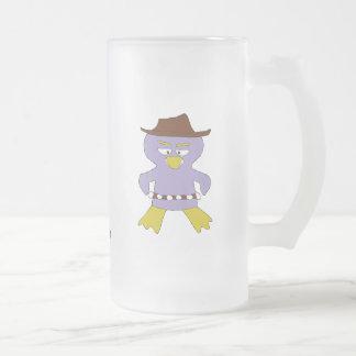 Cartoon Western Penguin Frosted Glass Beer Mug