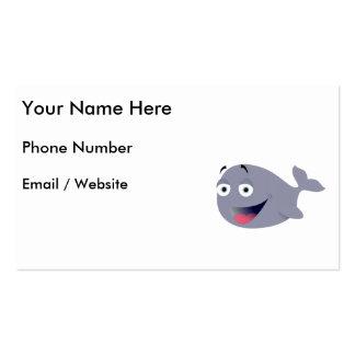 Cartoon Whale, Sea Mammal Business Cards