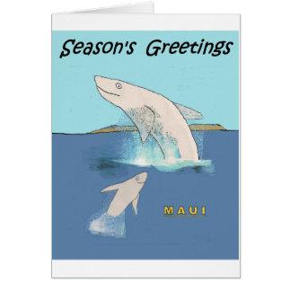 Cartoon: Whales Cavorting near Maui Card