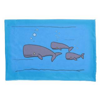 cartoon whales pillow case