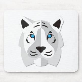 Cartoon White Tiger Mouse Pad