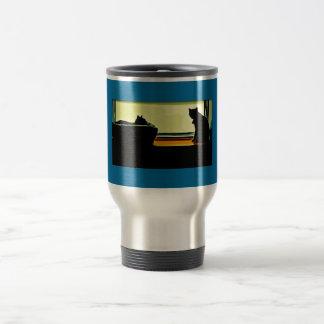Cartoon Window Kitties Stainless Steel Travel Mug