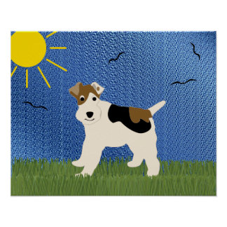 Cartoon Wire Fox Terrier Posters