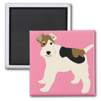 Cartoon Wire Fox Terrier Square Magnet