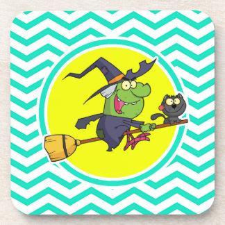 Cartoon Witch Aqua Green Chevron Drink Coaster