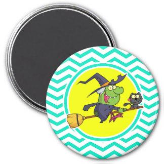 Cartoon Witch Aqua Green Chevron Magnets