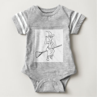 Cartoon Witch Flying on her Broomstick Baby Bodysuit