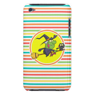 Cartoon Witch on Bright Rainbow Stripes Barely There iPod Case
