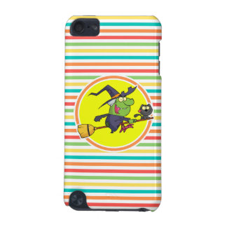Cartoon Witch on Bright Rainbow Stripes iPod Touch (5th Generation) Cases