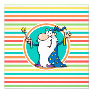 Cartoon Wizard on Bright Rainbow Stripes Invitations