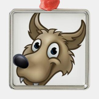 Cartoon Wolf Character Mascot Metal Ornament