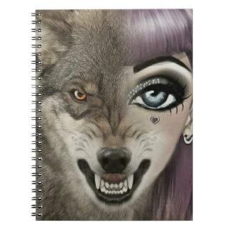 Cartoon Wolf Girl Notebooks