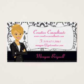 Cartoon Woman Character Damask Business Cards