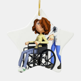 Cartoon Woman in Wheelchair with Doctor Ceramic Ornament