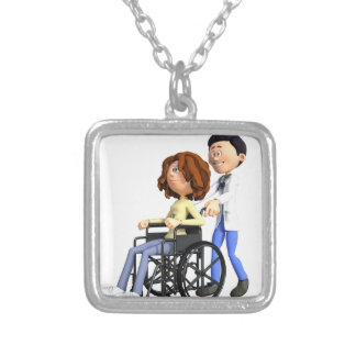 Cartoon Woman in Wheelchair with Doctor Silver Plated Necklace