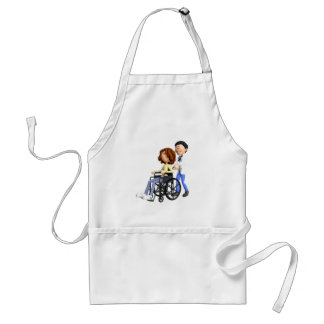 Cartoon Woman in Wheelchair with Doctor Standard Apron
