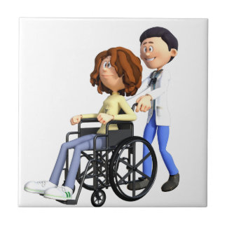 Cartoon Woman in Wheelchair with Doctor Tile