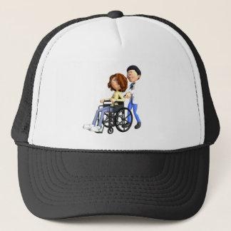 Cartoon Woman in Wheelchair with Doctor Trucker Hat