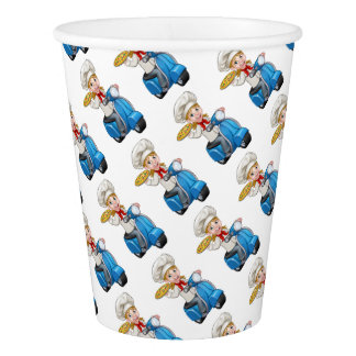 Cartoon Woman Pizza Chef on Delivering PIzza Paper Cup
