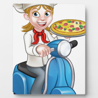 Cartoon Woman Pizza Chef on Moped Scooter Plaque