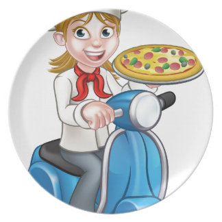 Cartoon Woman Pizza Chef on Moped Scooter Plate