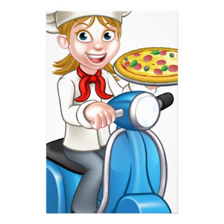 Cartoon Woman Pizza Chef on Moped Scooter Stationery