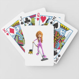 Cartoon Woman Using A Vacuum Bicycle Playing Cards