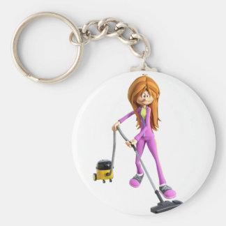 Cartoon Woman Using A Vacuum Key Ring