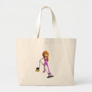 Cartoon Woman Using A Vacuum Large Tote Bag