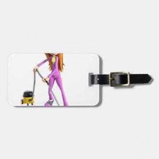 Cartoon Woman Using A Vacuum Luggage Tag