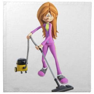 Cartoon Woman Using A Vacuum Napkin