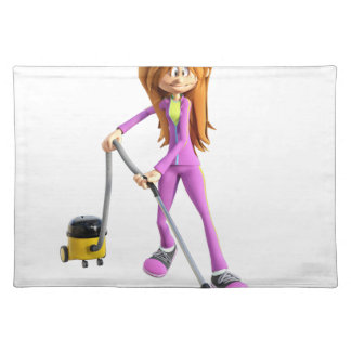 Cartoon Woman Using A Vacuum Placemat