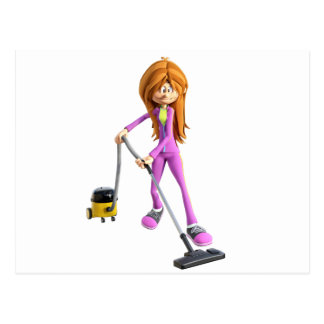 Cartoon Woman Using A Vacuum Postcard