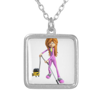 Cartoon Woman Using A Vacuum Silver Plated Necklace