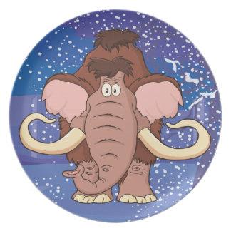 Cartoon Woolly Mammoth Plates