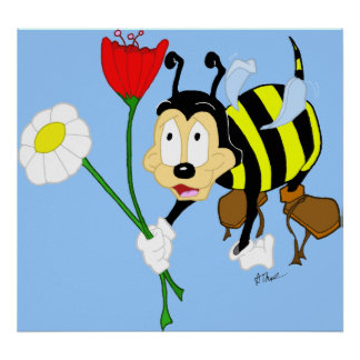 Cartoon Worker Bee and Flowers Poster Print