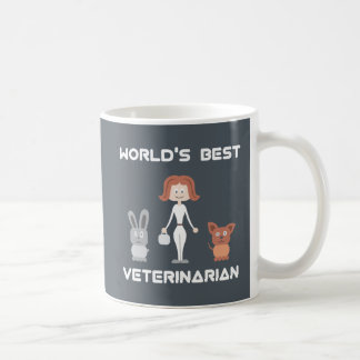 Cartoon World's Best Female Veterinarian Coffee Mug