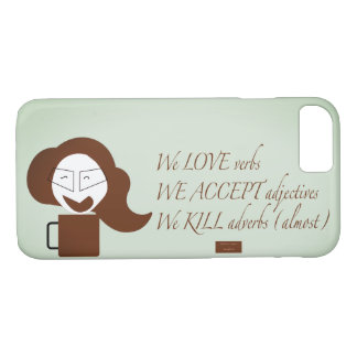 Cartoon writers cell phone case with text