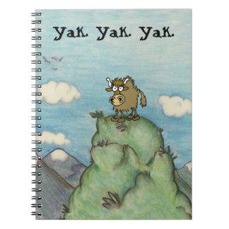 Cartoon yak drawing on mountain top yak.yak.yak. notebooks