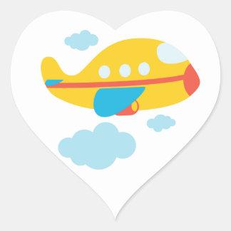 Cartoon Yellow Airplane Heart Sticker