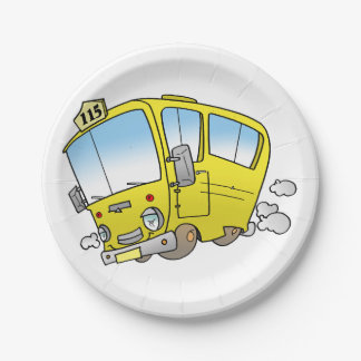 Cartoon Yellow Bus Paper Plates 7 Inch Paper Plate