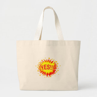 Cartoon Yes Large Tote Bag