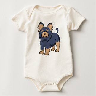 Cartoon Yorkshire Terrier Baby Bodysuit