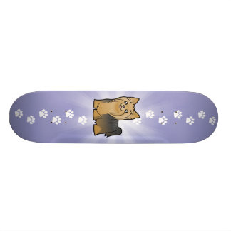 Cartoon Yorkshire Terrier (long hair no bow) Skate Decks