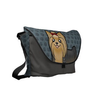 Cartoon Yorkshire Terrier (long hair with bow) Commuter Bag